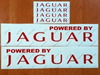 Powered by JAGUAR X Tipe XKR S XJR Racing Decal Sticker Emblem Logo Pair