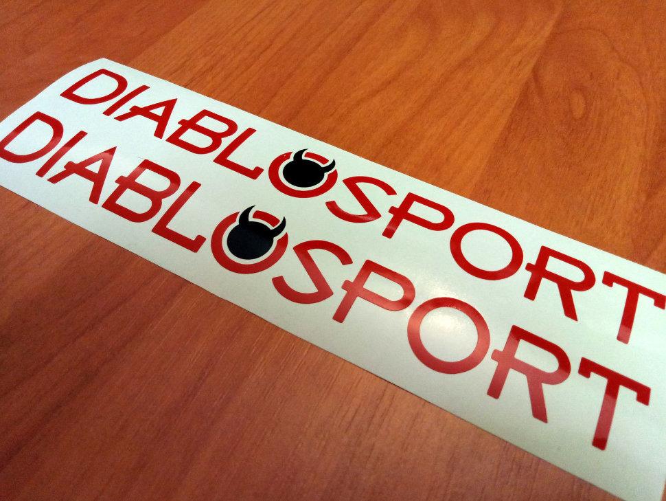 2 piece DIABLOSPORT Car Racing Stickers Die Cut Decals Vinyl Emblem Logo RED