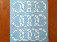 "AUDI LOGO RINGS DECAL STICKER M1 8"" A4 A5 A6 A7 A8 S4 S5 S6 S8 TT"